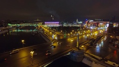 Moscow aerial Christmas New Year time night cityscape, Square of Europe, river. Stock Footage