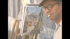 Vintage 16mm film, 1952, France, Paris, streetlife #5 artist painter Stock Footage