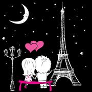 Couple sitting on a bench and looking at the Eiffel Tower in the Stock Illustration
