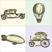 Steampunk Gears, machine, airship, balloon, hand drawing, vector Stock Illustration