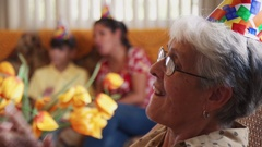 People Enjoy Birthday Party With Friends In Geriatric Hospital Stock Footage