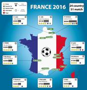 France soccer stadium map and infographics. Stock Illustration