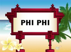 Architectural element with an inscription of Phi Phi Stock Illustration