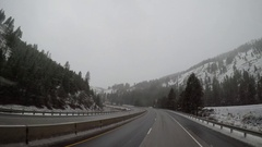 Elevated POV - Oregon Highway During Snow Stock Footage