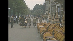 Vintage 16mm film, 1952, France, Paris, street cafe, lots of empty seats Stock Footage