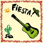 Mexican Fiesta Party Invitation with maracas, sombrero and guita Stock Illustration