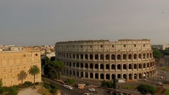 Colosseum in Rome, Italy. The camera moves away to the coliseum. Aeria Stock Footage