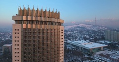 From up to down shot of the Kazakhstan hotel in winter in Almaty, Kazakhstan Stock Footage
