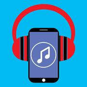 Smartphone and headphones with music player app Stock Illustration