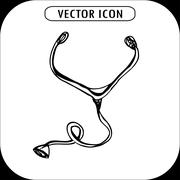Stethoscope Icon, hand drawing Stock Illustration