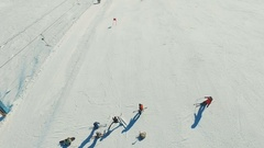 Skier on the giant track by the ski-lift. Start. Stock Footage