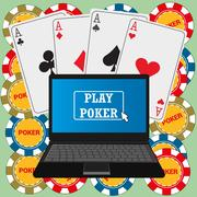Laptop with the poker application on the screen Stock Illustration