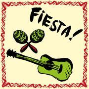 Mexican Fiesta Party Invitation with maracas, sombrero and guita Stock Illustration