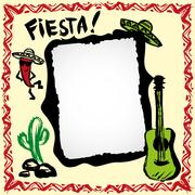 Mexican fiesta frame with sombrero, cactus, chilis and guitar Stock Illustration