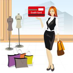 Beautiful girl with a credit card in a store Stock Illustration
