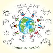 Multicultural children on planet earth Stock Illustration