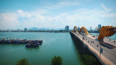 Dragon Bridge In daytime In Danang Vietnam From Left To Right Stock Footage
