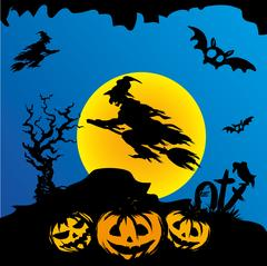 Halloween witch flying on broomstick Stock Illustration