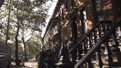Brooklyn Brownstone on the block - autumn  Stock Footage