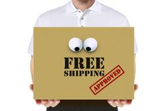 Delivery man carry a free shipping parcel over white Stock Illustration