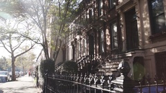 Brooklyn Brownstone on the block - autumn - 2016 Stock Footage
