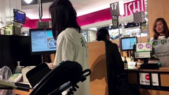 One side of check out counter inside T&T supermarket with 4k resolution Stock Footage