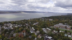Hudson River in autumn aerial shot - 4k Stock Footage