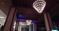 Tilt of high end dance floor with dj and speaker Stock Footage