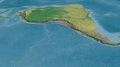 Revolution around Andes mountain range - masks. Topographic map Stock Footage