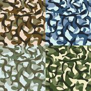 Army camouflage, hunter, combat camo vector seamless patterns set Stock Illustration