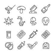 Drugs, heroin, alcohol, smoking addiction thin line vector icons Stock Illustration