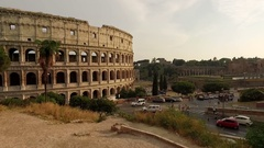 Coliseum in Rome, Italy.  Beautiful aerial video of the symbol of Rome Stock Footage