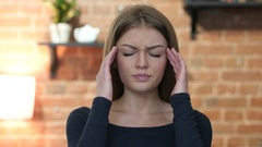 Headache, Frustrated, Tense Young Girl, Portrait Stock Footage