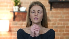Girl praying  for Forgiveness, Portrait Stock Footage