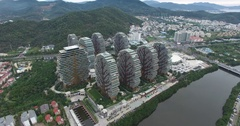 Modern Buildings Of 5-Star Hotels In Day Time In Sanya City, China, 4K Stock Footage