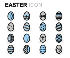 Vector flat easter icons set Stock Illustration