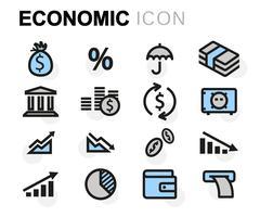 Vector flat economic icons set Stock Illustration