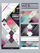 Trendy one page website design template Stock Illustration