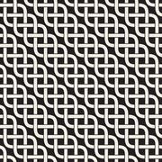 Interlaced Lines Celtic Ethnic Ornament. Vector Seamless Black and White Pattern Stock Illustration