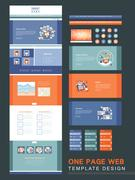Flat one page website template Stock Illustration