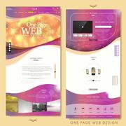 Blurred trendy one page website design template Stock Illustration