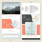 Simplicity one page website design template Stock Illustration