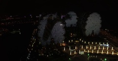 A Group Of Modern 5-Star Hotel Buildings At Night In Sanya, China, 4K Stock Footage