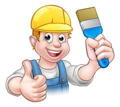 Painter Decorator Holding Paintbrush Stock Illustration