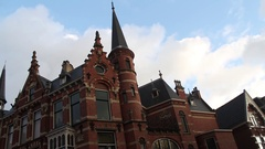 Dutch Red-Brick Building 19th century, Bansraat, Den Haag Stock Footage