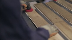 Hardwood Flooring Workshop - Polishing the Floor Panels Stock Footage