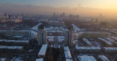 Winter view of the new square and independence monument in Almaty, Kazakhstan Stock Footage