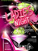 Mystery ladies night party poster design Stock Illustration