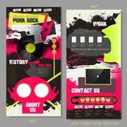 Fashionable punk concept one page website design Stock Illustration