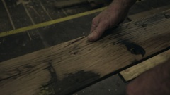 Machine Planing a Length of Timber Stock Footage